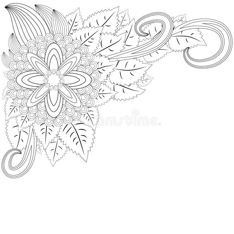 illustratie zentangl Het frame van de bloem Kleurend boek Antistress voor volwassenen en kinderen Het werk werd gedaan op handwij vector illustratie