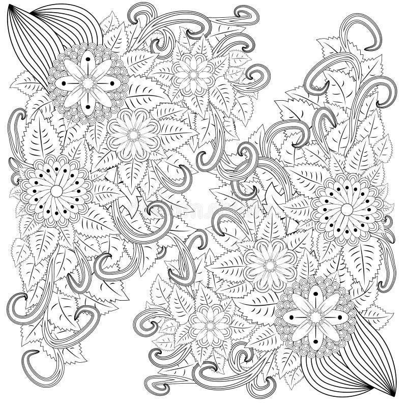 illustratie zentangl Het frame van de bloem Kleurend boek Antistress voor volwassenen en kinderen Het werk werd gedaan op handwij royalty-vrije illustratie