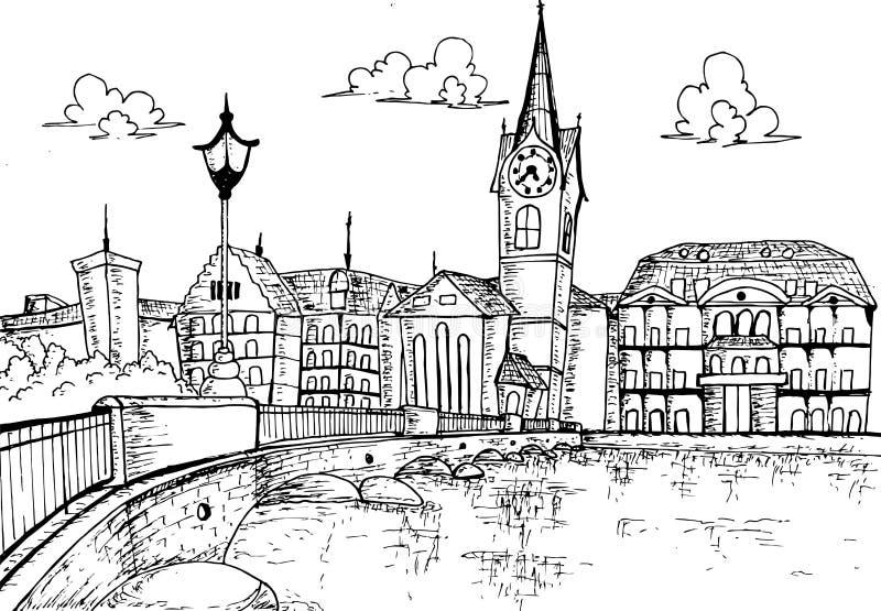 Illustratiecityscape getrokken de hand van van Zürich, Zwitserland vector illustratie
