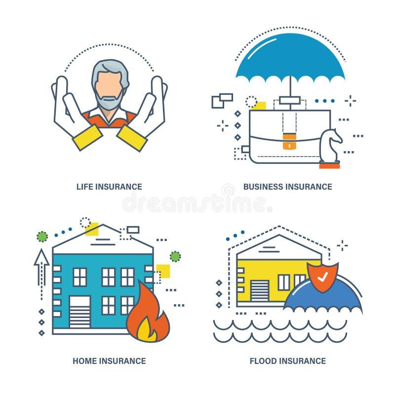 Illustratieconcept - levensverzekering, zaken, huisvesting, bezit en gezondheid vector illustratie