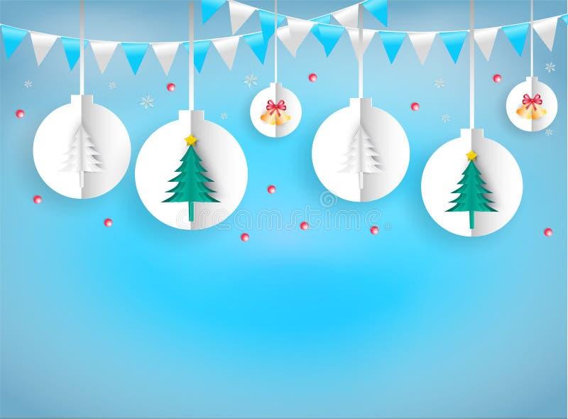 Illustratiedocument de kunststijl van Kerstmis siert hangende kabel royalty-vrije illustratie