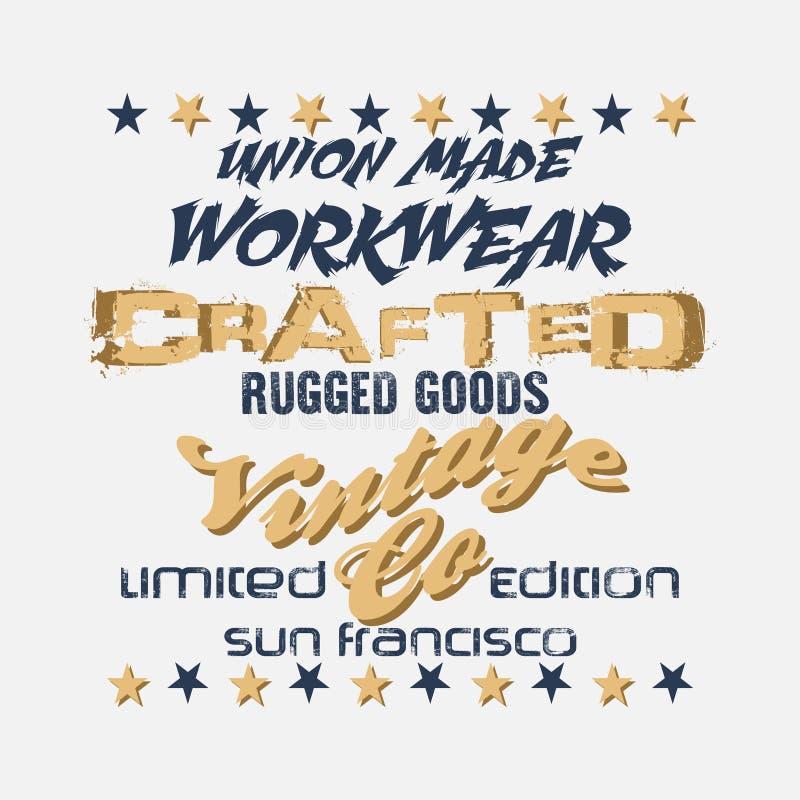 Illustratiedruk op een T-shirt, San Francisco, denim stock illustratie