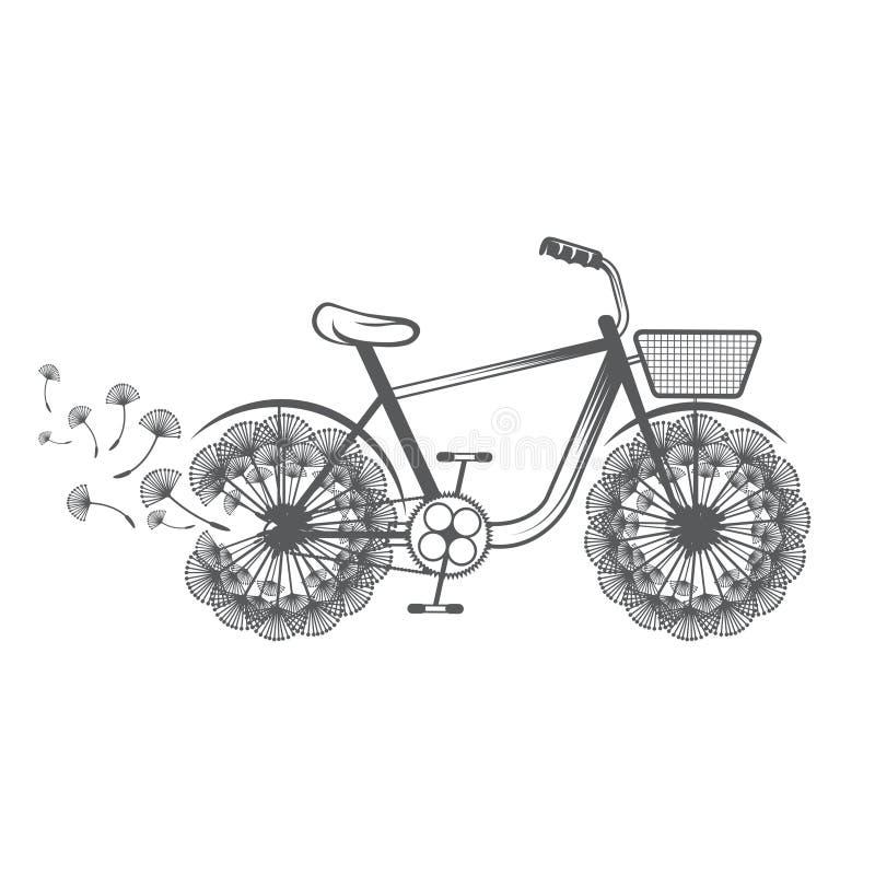 illustratiefiets met paardebloem Vector vector illustratie