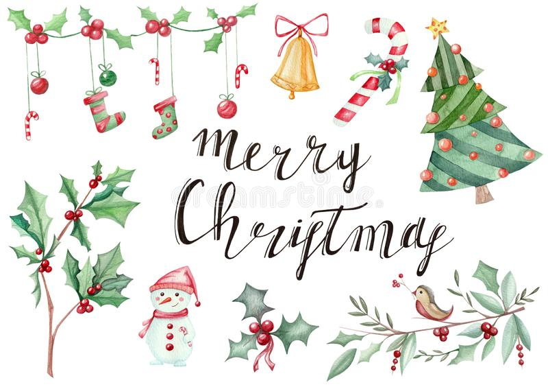 Illustratiehand met symbolics die van Nieuwjaar` s Kerstmis wordt getrokken stock illustratie