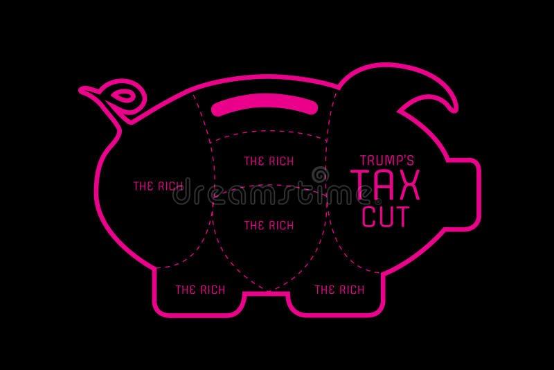 Illustratieidee van belastingverlagingen in de Verenigde Staten stock illustratie