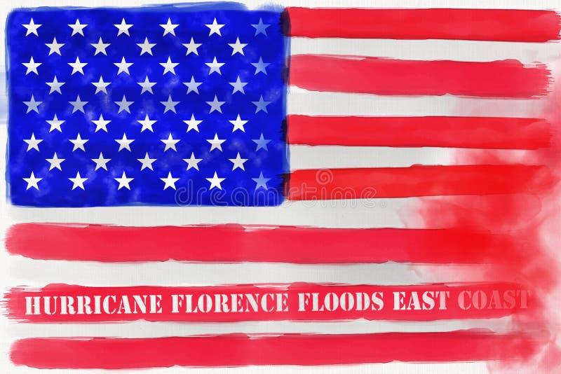Illustratieidee voor Orkaan Florence die de Oostkust van de Verenigde Staten overstromen stock illustratie