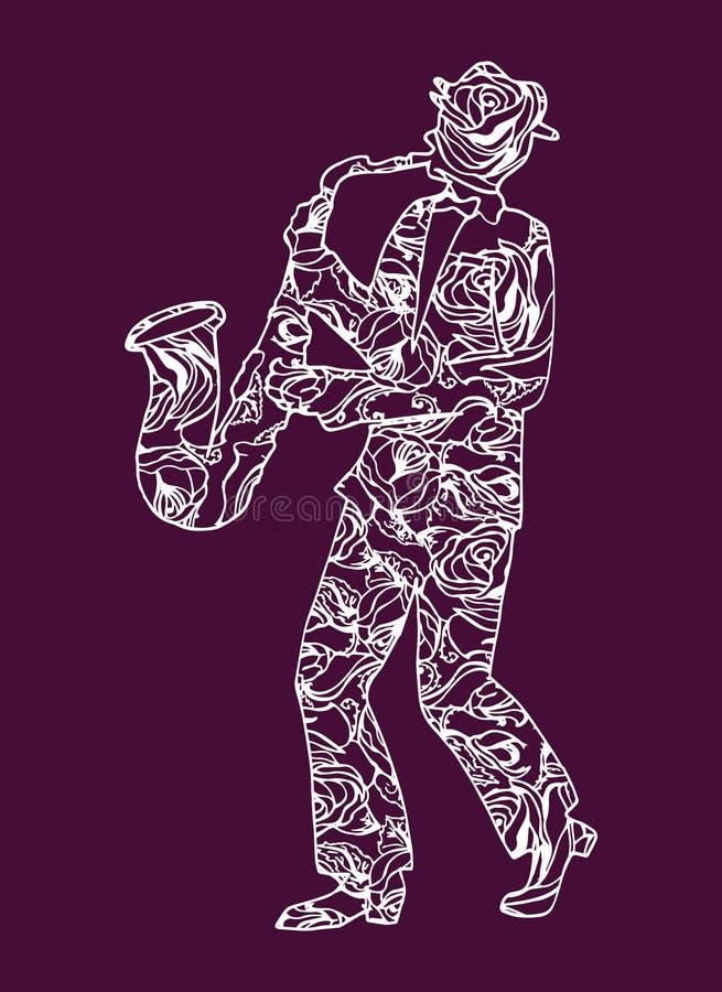 Illustratiemusicus Mens die muziek uitvoeren saxophone stock illustratie