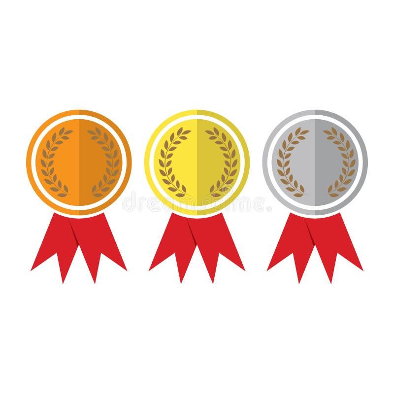 illustratieontwerp over een witte achtergrond Van de het brons zilveren eerste plaats van de winnaarmedaille gouden van de de tro vector illustratie