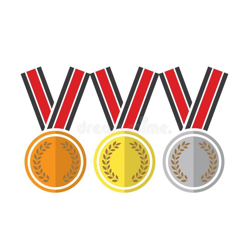 illustratieontwerp over een witte achtergrond Van de het brons zilveren eerste plaats van de winnaarmedaille gouden van de de tro stock illustratie