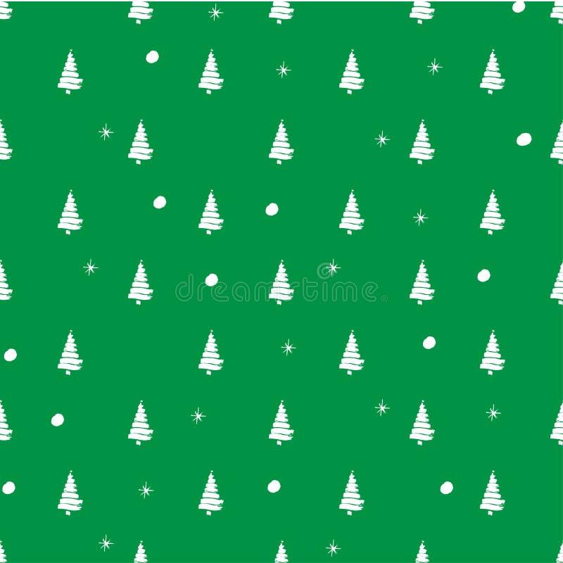 Illustratiepatroon op het de winterthema met groene achtergrond en wit silhouet van bomen met sneeuwballen en sneeuwvlokken vector illustratie