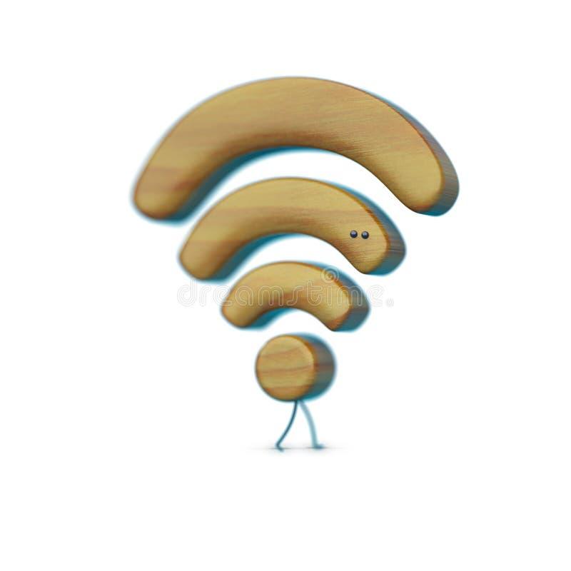 Illustratiepictogram WiFi, karakter met benen en ogen, houten textuur, Internet-signaal, witte achtergrond stock afbeelding