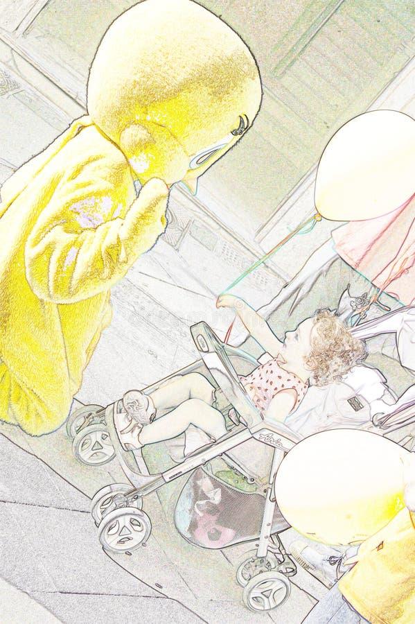 Illustratiepotlood: een kind geeft een baloon royalty-vrije stock afbeeldingen