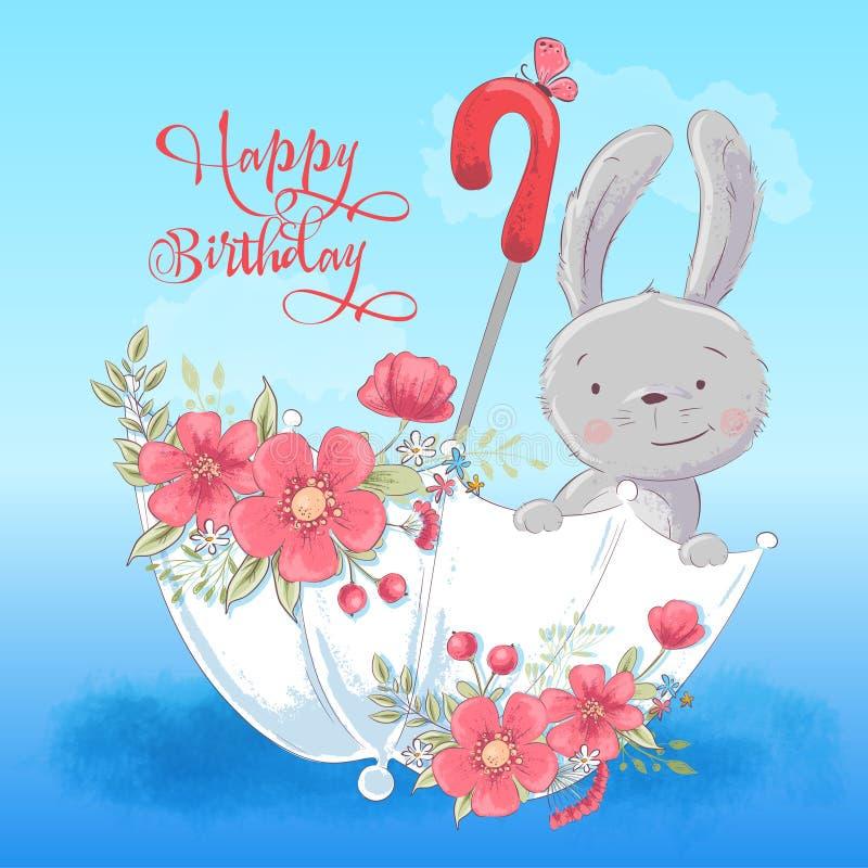 Illustratieprentbriefkaar of prinses voor de ruimte van een kind - leuk konijn in een paraplu met binnen bloemen, vectorillustrat stock illustratie