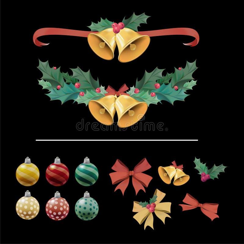 Illustratiereeks punten van de Kerstmisdecoratie royalty-vrije illustratie