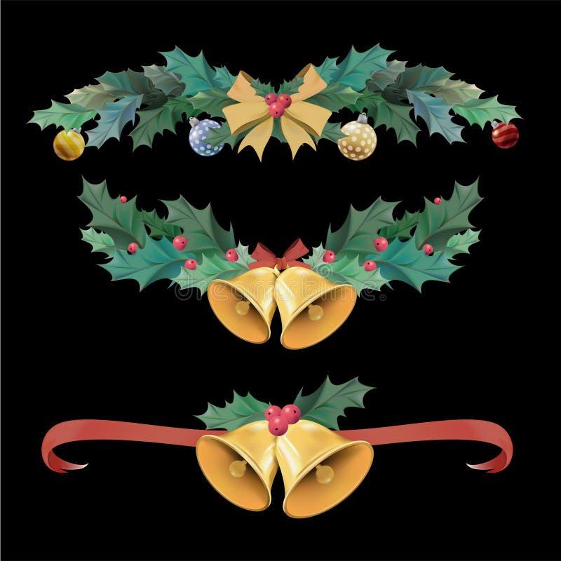 Illustratiereeks punten van de Kerstmisdecoratie stock illustratie