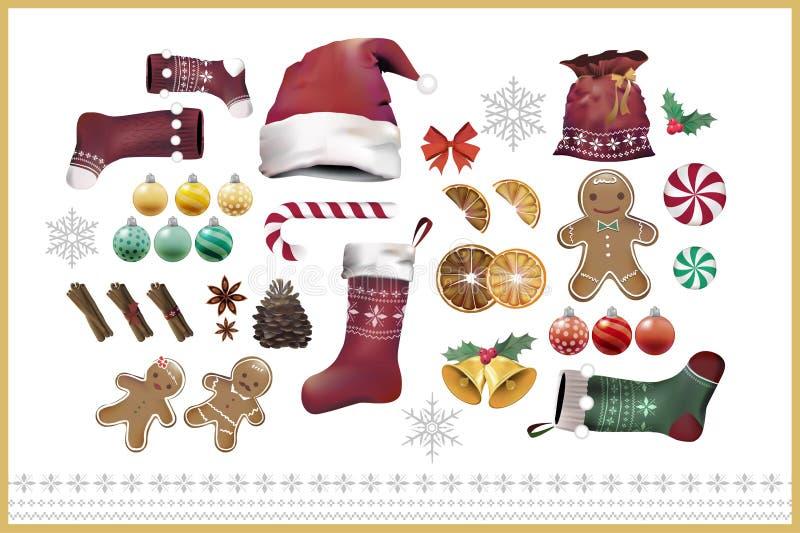 Illustratiereeks punten van de Kerstmisdecoratie vector illustratie