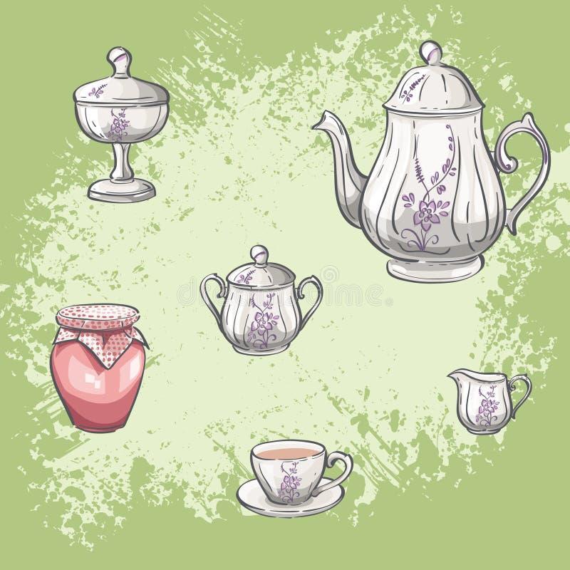 Illustratiereeks thee en jampotten stock illustratie