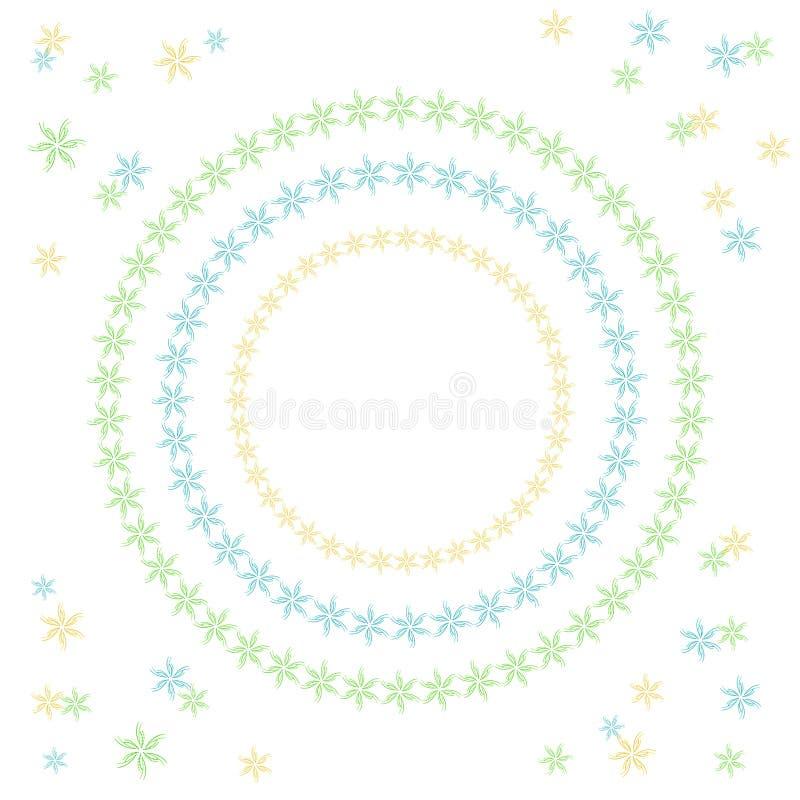 Illustratiereeks van drie cirkels met bloemen om het ontwerp en de creatieve achtergrond met krullen, lijnen en punten te verfraa vector illustratie