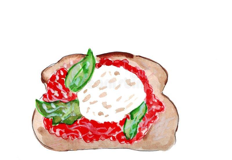 Illustratiereeks van het schetsen van sandwiches met verscheidenheid van vullingen, verschillende samenstelling en ingrediënten stock illustratie