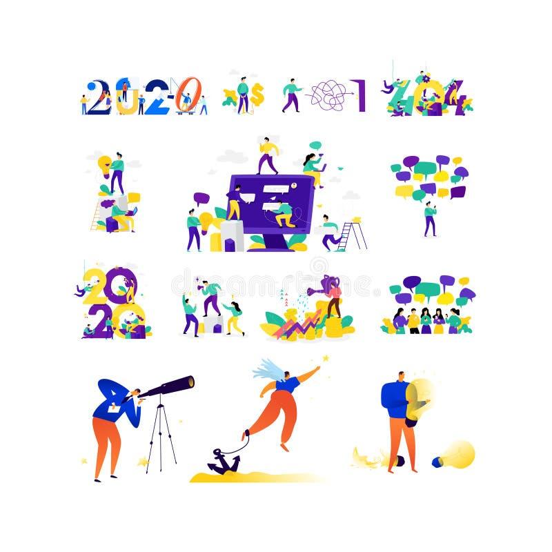 Illustraties op het onderwerp van zaken Vector Metaphoric situaties in zaken Mededeling, financi?n, sociale mededeling, royalty-vrije illustratie