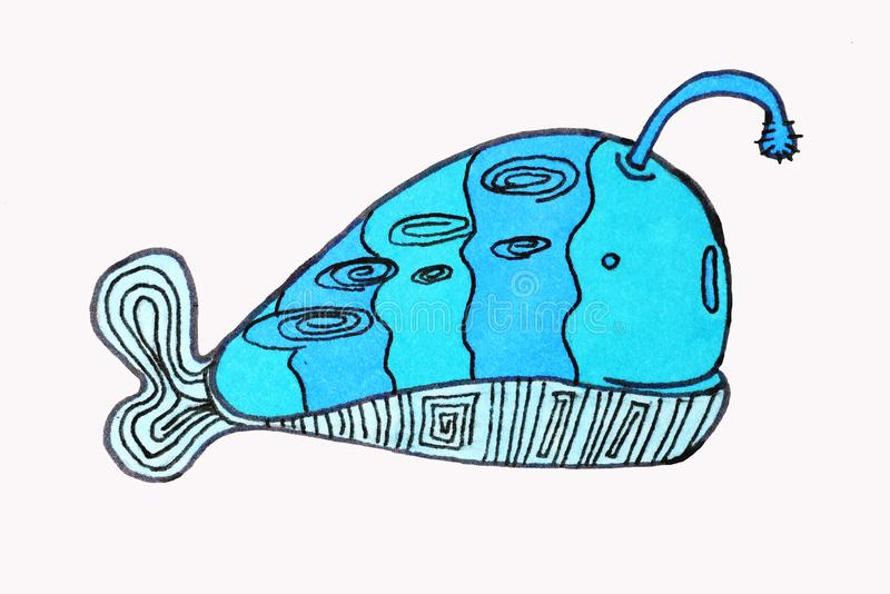 illustraties Overzeese inwoners, vissen kawaiianimais stock illustratie