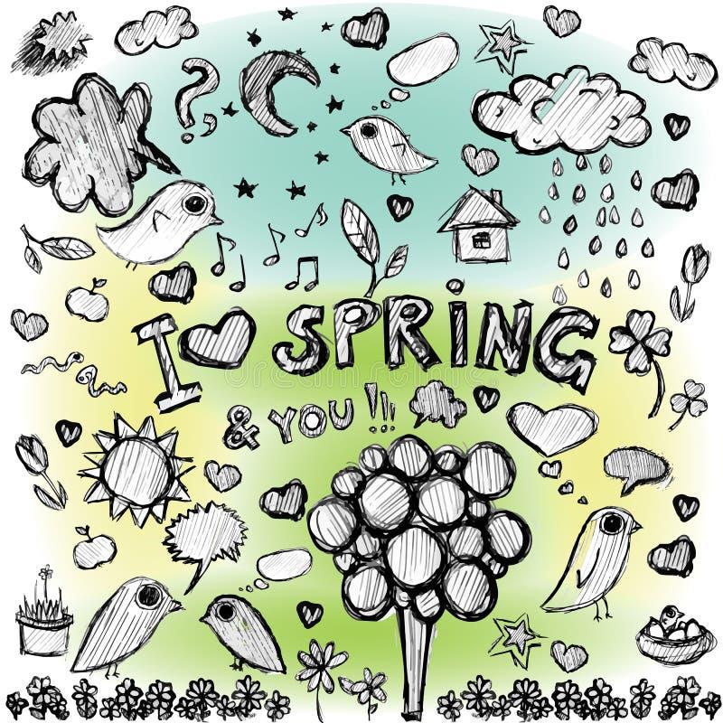 Illustraties van de lente de kleurrijke vlekken van de klemkunst vector illustratie