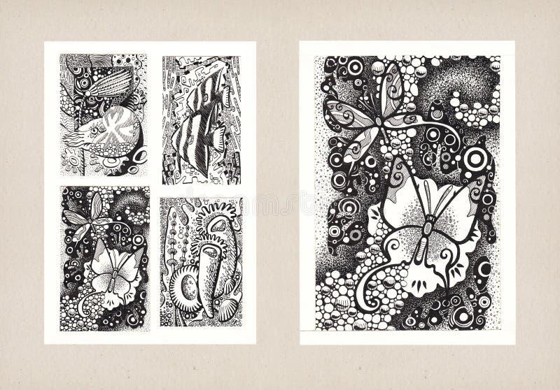 Illustraties van Dierlijke Thema's (Inkt) royalty-vrije stock fotografie