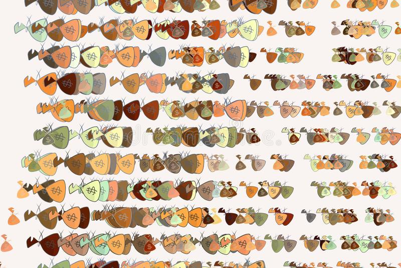 Illustraties van geldpakken of zakken Behang, effect, dekking & bankwezen stock illustratie