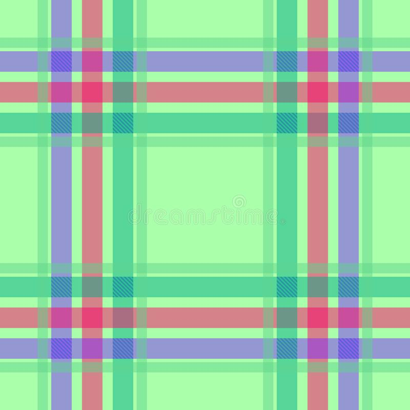 Illustraties van het geruit Schots wollen stof de naadloze lichtgroene patroon vector illustratie