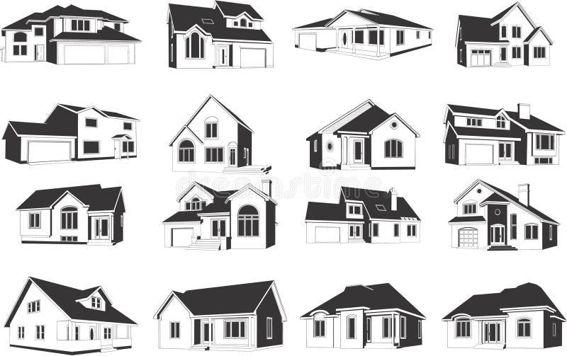 Illustraties van Huizen royalty-vrije illustratie