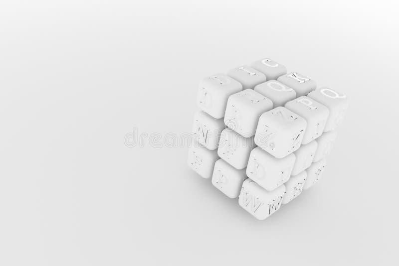 Illustraties van kubus of blok, ABC-teken of symbool voor grafisch ontwerp of behang Grijze of zwart-witte 3D b&w geeft terug stock illustratie