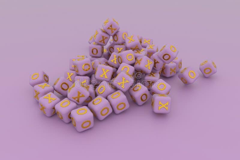 Illustraties van kubus of blok, ja of nr, recht of verkeerd, X of O voor grafisch ontwerp of behang 3d geef terug stock illustratie