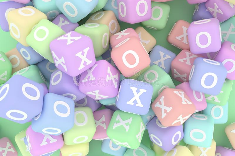 Illustraties van kubus of blok, ja of nr, recht of verkeerd, X of O voor grafisch ontwerp of behang 3d geef terug vector illustratie