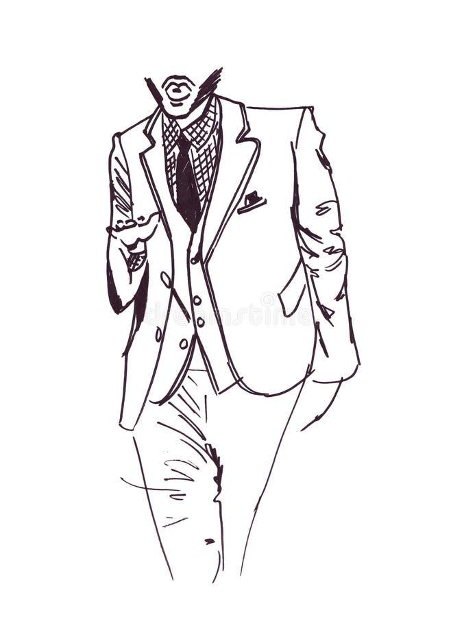 Illustratieschets van het mannetje in een kostuum en een avondkleding vector illustratie
