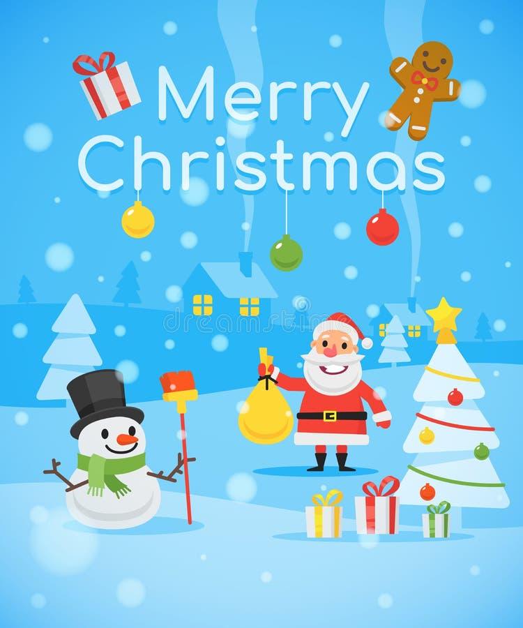 Illustratiesneeuwman Vrolijke Santa Claus Christmas Tree Text Happy vector illustratie