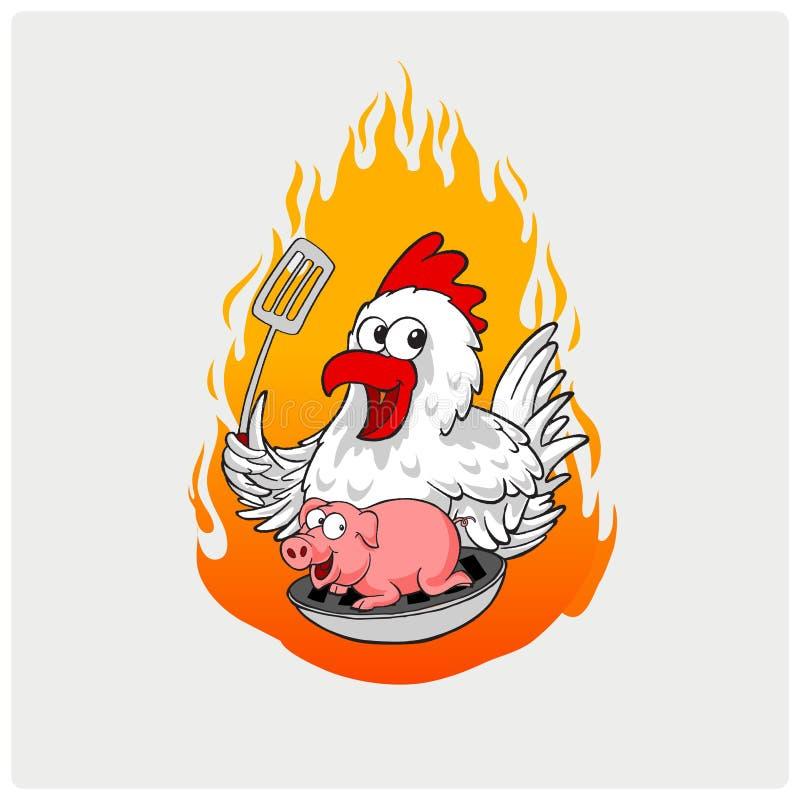 Illustratievector van barbecue met kip en varkensvlees stock illustratie