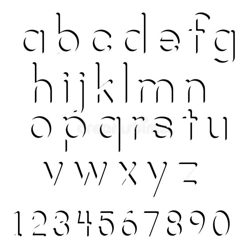 Illustratievector van de zwarte reeks in kleine letters van de schaduwdoopvont en numbe royalty-vrije illustratie