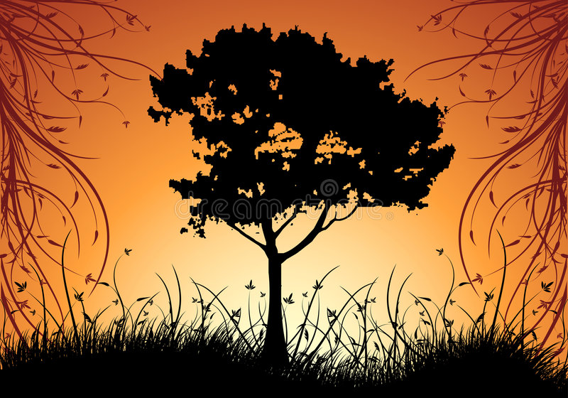 Illustratio decorativo natural abstracto del vector del fondo de la puesta del sol libre illustration
