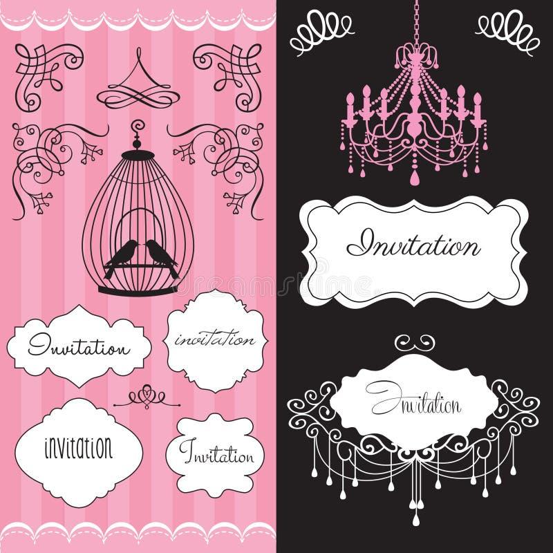 Illustratio do cartão do convite do casamento do vintage ilustração do vetor