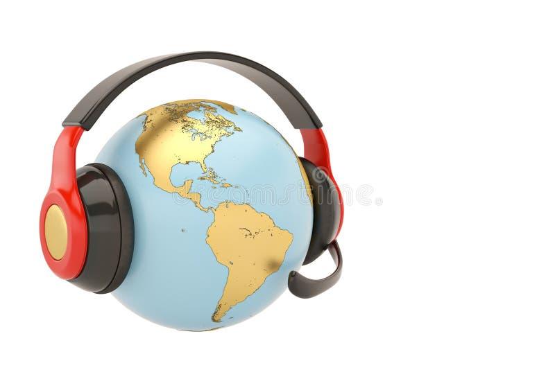 Illustratio do conceito 3d do serviço ao cliente do globo e do fones de ouvido do ouro ilustração royalty free