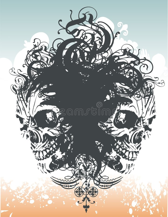 Illustratio floral del cráneo del demonio stock de ilustración