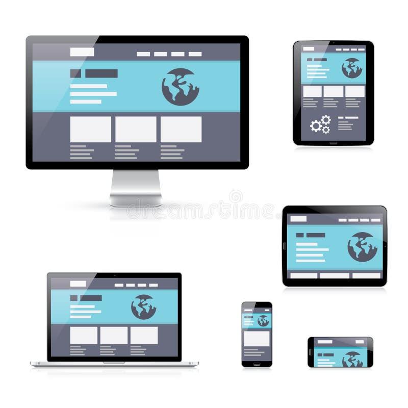 Illustratio responsivo plano del vector del desarrollo web ilustración del vector