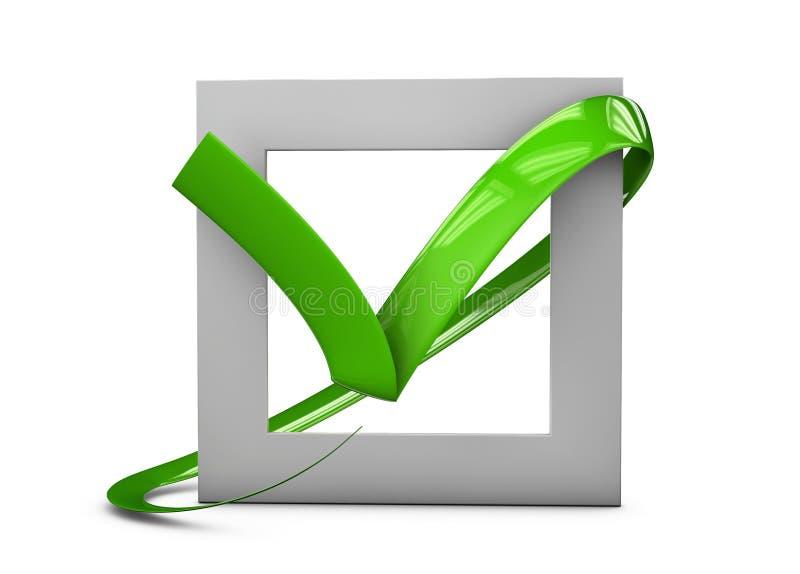 illustratio van Grote vlakke knopen: groene vinkjekruisen vierkant, hard en rond gemaakte hoeken Geïsoleerd wit vector illustratie