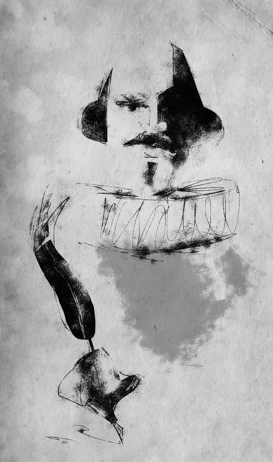 Illustration à l'encre de William Shakespeare (noire et blanche) illustration stock