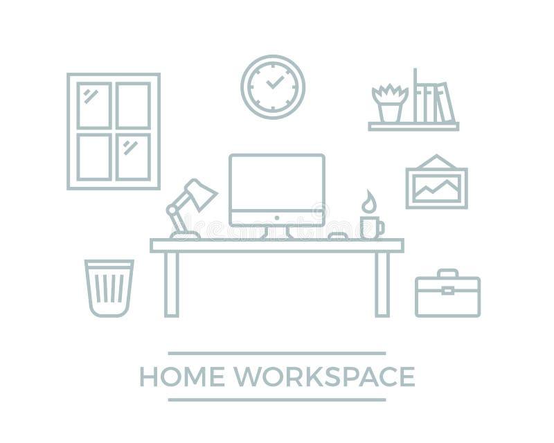 Illustration à la maison d'espace de travail illustration de vecteur