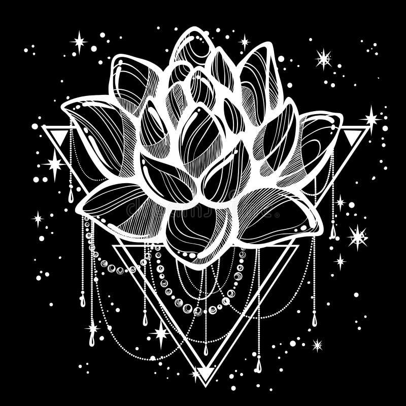 Illustration à la mode d'ensemble de style de boho de vecteur d'isolement Fleur de Lotus sur la géométrie sacrée et une dispersio illustration libre de droits