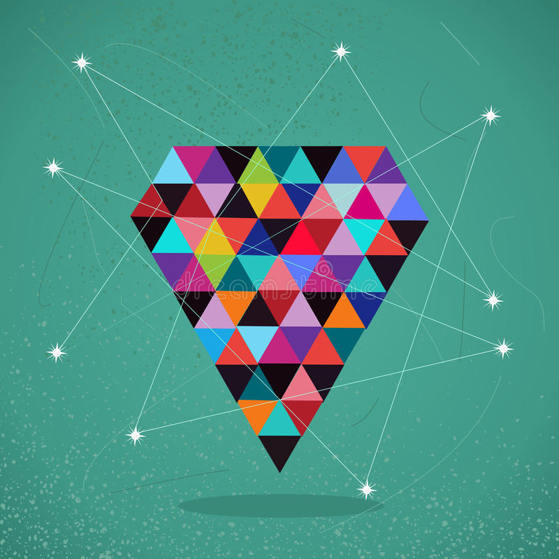 Illustration à la mode de diamant de triangle de rétros hippies. illustration de vecteur