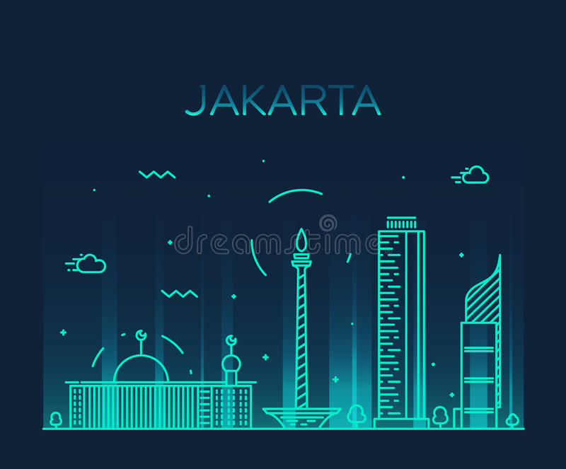 Illustration à la mode de vecteur d'horizon de Jakarta linéaire illustration libre de droits