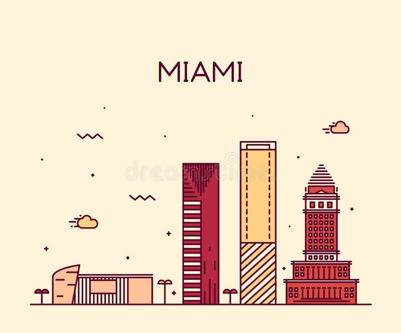 Illustration à la mode de vecteur d'horizon de Miami linéaire illustration stock