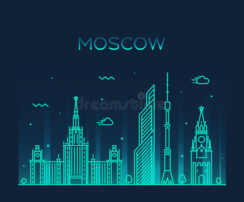 Illustration à la mode de vecteur d'horizon de Moscou linéaire illustration stock
